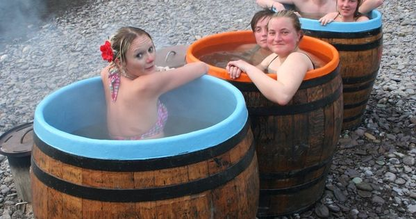 Wood fired hot tubs in 32 styles from 75 and up living for Whiskey barrel bathtub