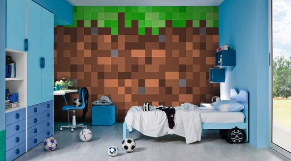 Minecraft Wall Murals By Inkyourwall On Etsy Bedroom