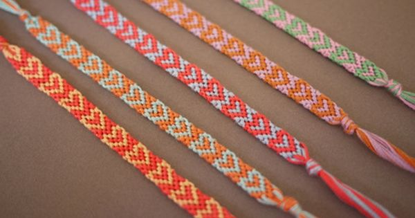 DIY Heart Friendship Bracelet Tutorial m- orange heart bracelet