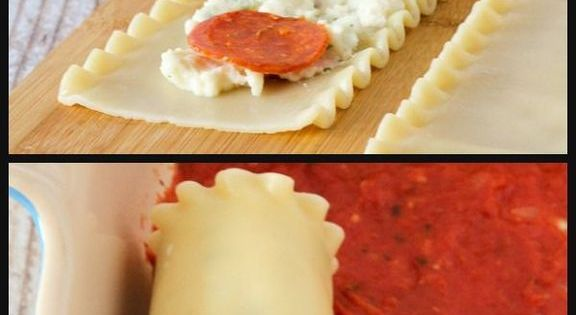 Pepperoni Pizza Lasagna Rolls recipe. Tasty Italian food pasta idea.