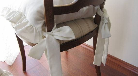 Kitchen Chair Seat Cushion Covers: Chair Cushions With Ties-ruffle Linen Chair Cushion Covers