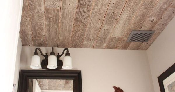 Reclaimed Weathered Wood Plank Ceiling, I think I'd like to transfer this