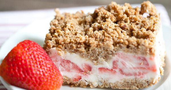 Frozen Strawberry Crunch Cake is the perfect frozen treat to serve at