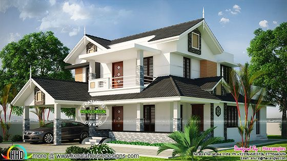 Beautiful Sloping Roof 2350 Sq Ft Home Kerala House Design Fasade House House Elevation