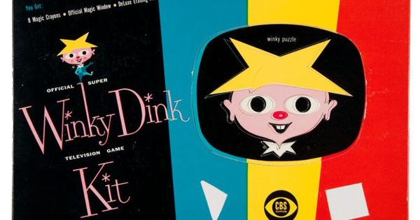 vintage toy package design  cover of the official super winky dink television game kit from 1954