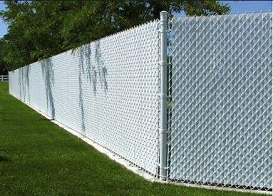 Tall White Vinyl Coated Chain Link Fence With White Privacy Slats