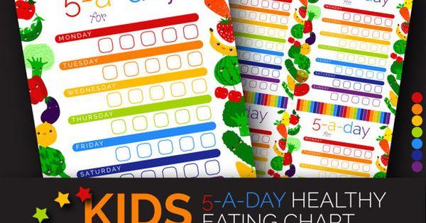 Kids Healthy Eating Chart, Dry Erase 5-a-day Fruit Veggies Printabe ...