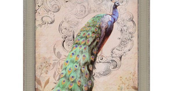 Vintage Peacock I Framed Art Print Home Decor