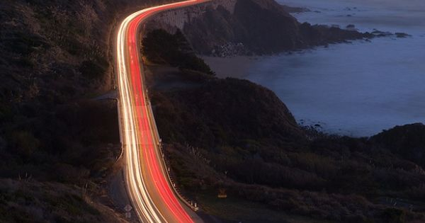 Pacific Coast Hwy 1 - Big Sur, California. (night time)