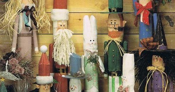 Fence Folk Wooden Figure Santa Claus Elf Easter Bunny