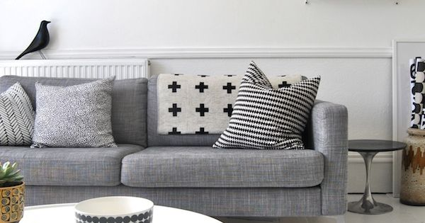 Black, white, and grey couch! Just like us! Living room/bedroom living room