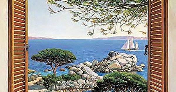 Andrea del Missier Finestra sul Mediterraneo Keilrahmen-Bild Leinwand Fenster