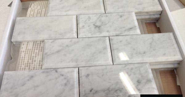 Italian marble carrara bianco polished 3x6 beveled marble for Carrara marble per square foot