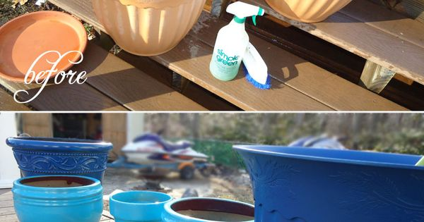 spray paint plastic flowerpots
