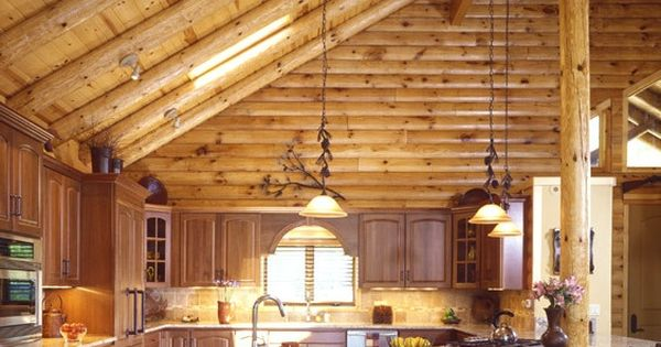Cathedral Ceiling In A Log Home Log Home Kitchen With