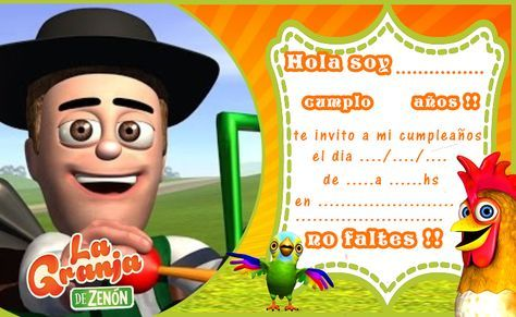 Invitacion Tarjetita Candy Bar La Granja De Zenon Kit