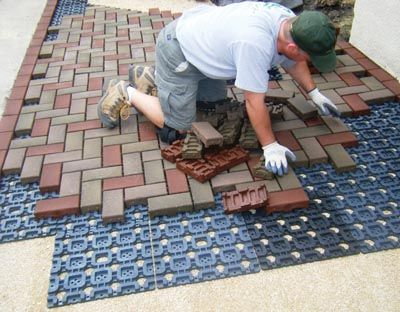Azek pavers weigh much less than concrete and install on a for How much does composite decking weigh