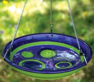 How To Make A Simple Hanging Bird Bath Hanging Bird Bath Diy Bird Bath Glass Bird Bath