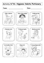 No 96 Hygiene Habits Pictionary Personal Hygiene Worksheets Hygiene Lessons Worksheets For Kids Good grooming worksheets for kindergarten