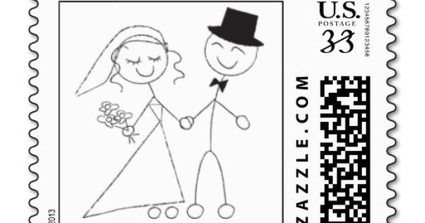 Stick Figure Wedding Invitations: Postcard Stick Figure Wedding Couple Postage Stamp