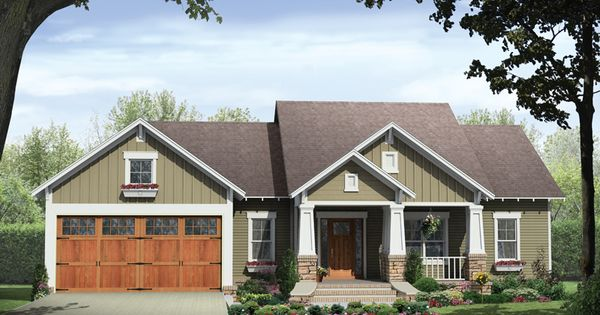 This striking Craftsman style home with a ranch style structure (House Plan