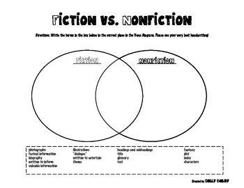 Fiction Vs Nonfiction Venn Diagram Worksheet With Images