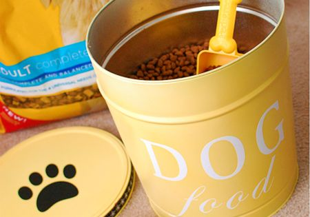 I want to do this! Popcorn containers spray painted for pet food