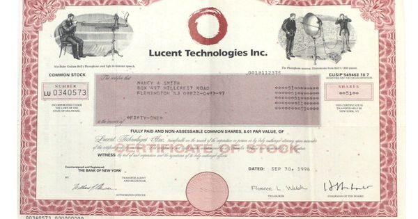 Lucent Technologies Stock Certificate 1996 Old Vintage 51 Shares The Kings Bay Stock Certificates Certificate Technology