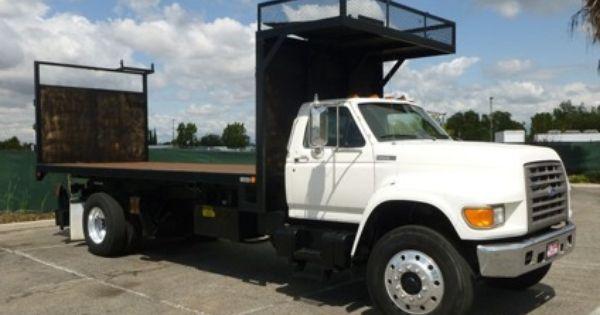 28 500 1995 Ford F800 20 Flatbed Scissor Lift Dump Truck Dump Trucks For Sale Trucks Ford Work Trucks