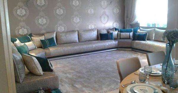 un trs beau salon marocain moderne gris bleu turquois par larchitecte dintrieur - Salon Moderne Acasablanca