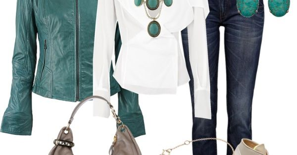 Outfit- with turquoise leather jacket