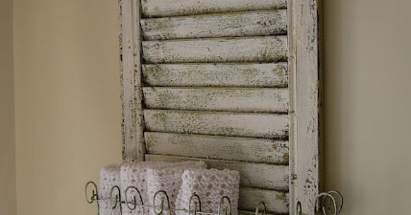 25 Repurposed Shutter Ideas- Bathroom towel holder
