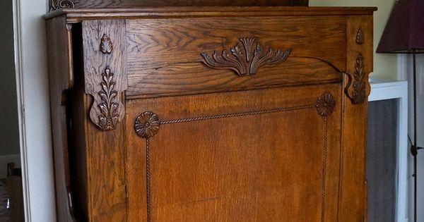 Late 1800 S Vintage Antique Oak Wood Murphy Bed W Mirror