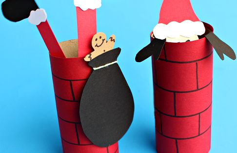Christmas craft - Santa Going Down a Toilet Paper Roll Chimney (Kids