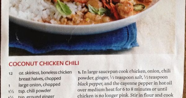 Coconut Chicken Chili From Better Homes Gardens January