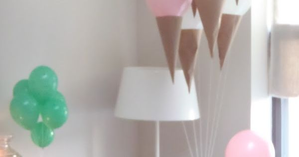 Ice cream cone balloons. Easy to do for Kids Parties