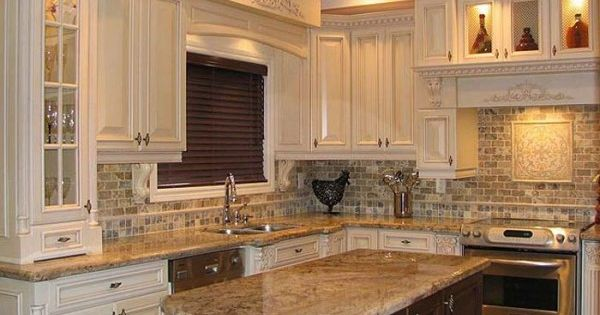 Old World Style Kitchen Love The Detailed Carved Off White Cabinets Granite Counters
