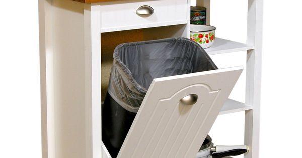 venture horizon butcher block top kitchen cart with trash