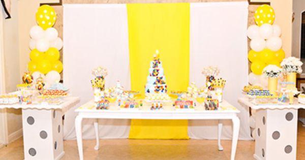 بالصور أفكار ديكورات لأعياد ميلاد الأطفال Yellow Birthday Parties Caillou Party Third Birthday Party
