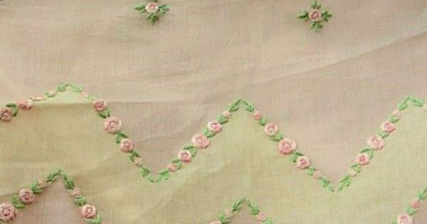 Antique embroidered organdy fabric vintage salesmans