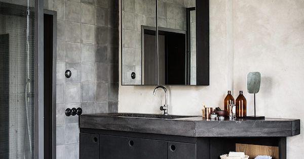 Ba o de estilo industrial con el gris y las baldosas for Banos estilo industrial