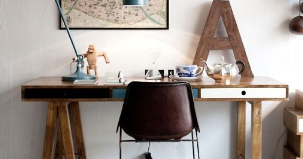 nice old map in a frame on wall behind a desk | Industrial/ Rustic home | Pinterest | Workspaces ...