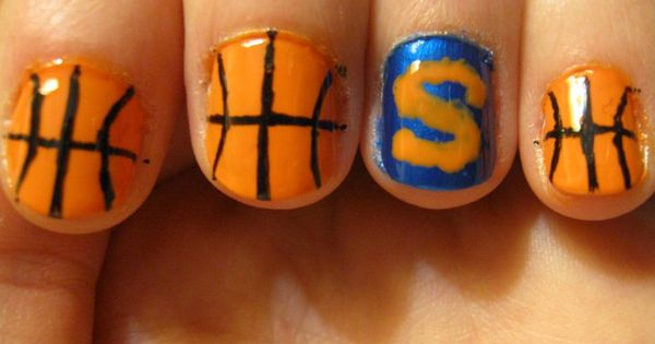 Syracuse Basketball Nails, similar to Aunt Sharon's Met's nails! HA