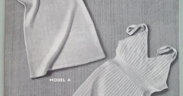 Underwear Knitting Machine : Vintage s machine knitting pattern womens vests