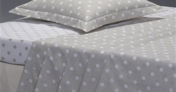 Drap imprim pois clarisse gris gris blanc linge de - Soldes la redoute linge de maison ...