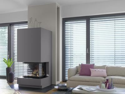 der dunkelgraue kamin 3d granit 15 vor der beigegrauen. Black Bedroom Furniture Sets. Home Design Ideas