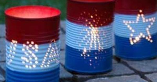 Tin punch candleholders are a patriotic way to light up the night
