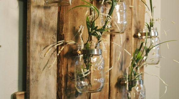 Einzigartige große Mauer Stück mit klaren Mason Jars Wand Dekor Küche Dekor