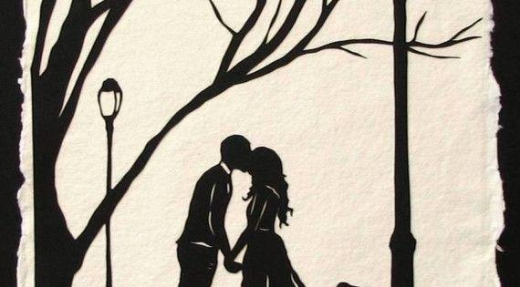 Autumn Kiss - Hand-Cut Silhouette Papercut. so sweet.