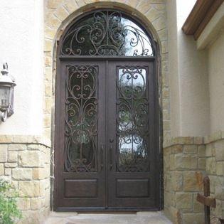 Wrought Iron Doors 6 X 8 Milan Double Door With Half Round